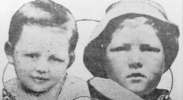 The photo on the left was sent out by the Dunbars on circulars at the time the Dunbar child disappeared. The one on the right is the boy now held by the Dunbars as their child, taken from Walters. The defense contends the photos are mute evidence that the boy held by the Dunbars is not the lost child. Study the features closely—what do you think? Is the one on the right Bobbie or Bruce Anderson?