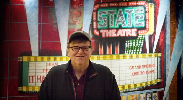 Michael Moore at the State Theatre in Traverse City, Michigan