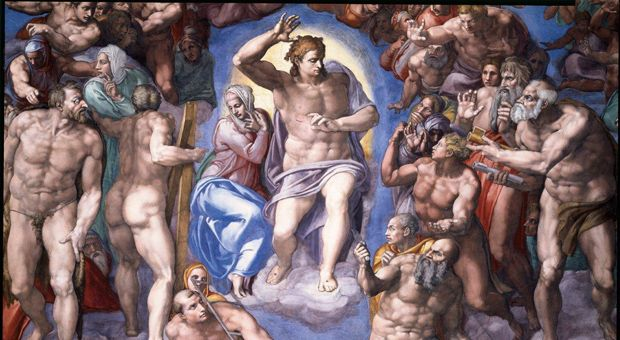 "The central portion of ""The Last Judgment"" by Michelangelo."